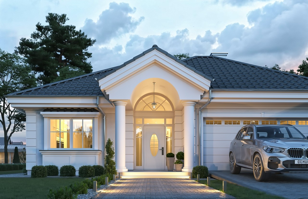 Projekt domu Dom na Parkowej 7 C - wizualizacja frontu odbicie lustrzane
