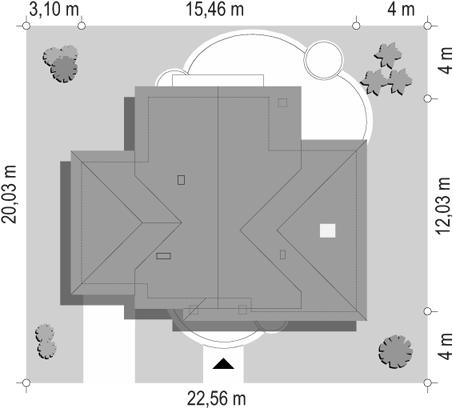 Dom w brzozach - sytuacja odbicie lustrzane
