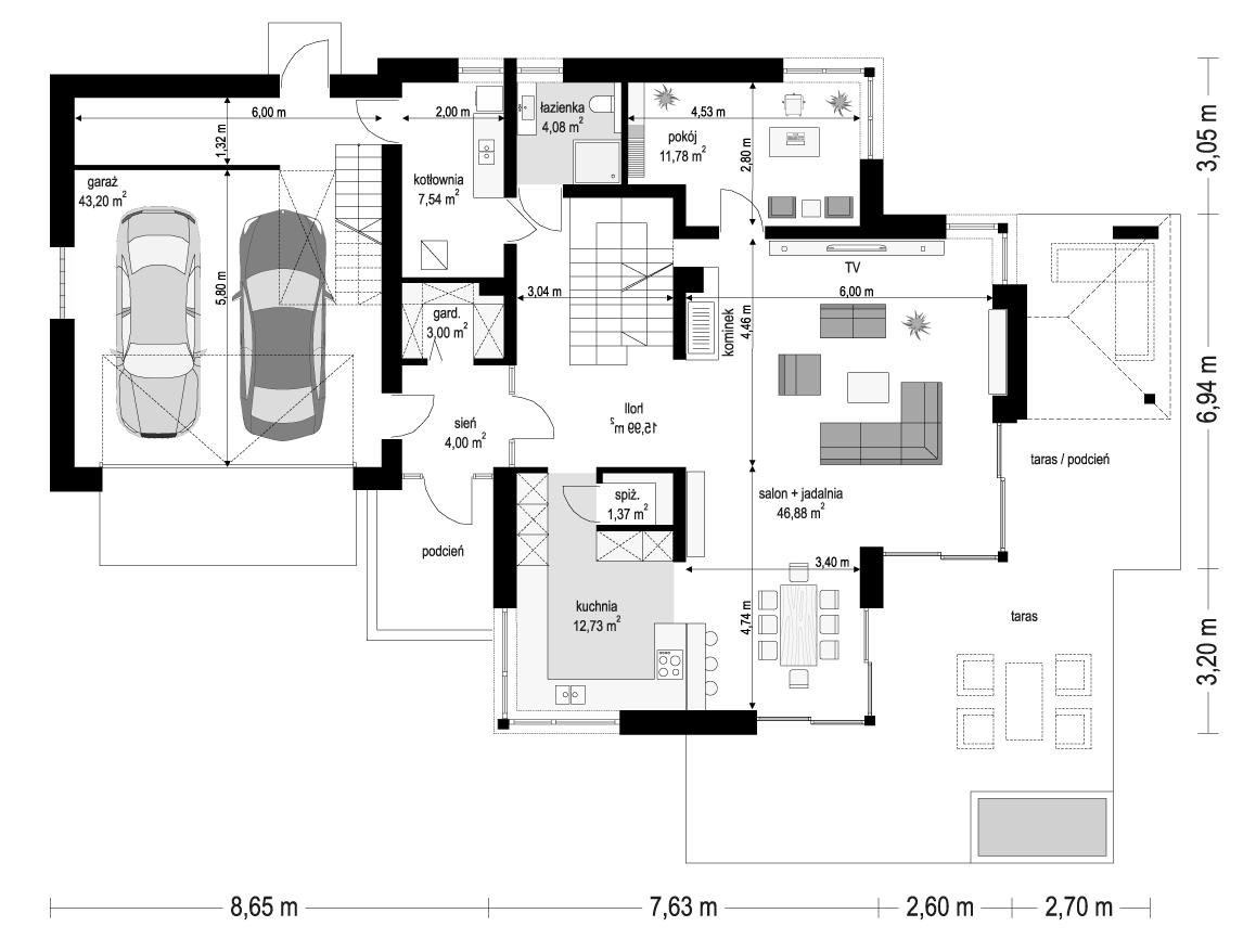 Dom z widokiem 3 wariant G - rzut parteru odbicie lustrzane