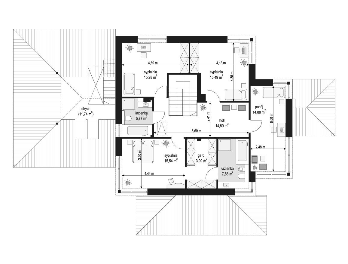Dom z widokiem 3 wariant G - rzut piętra odbicie lustrzane