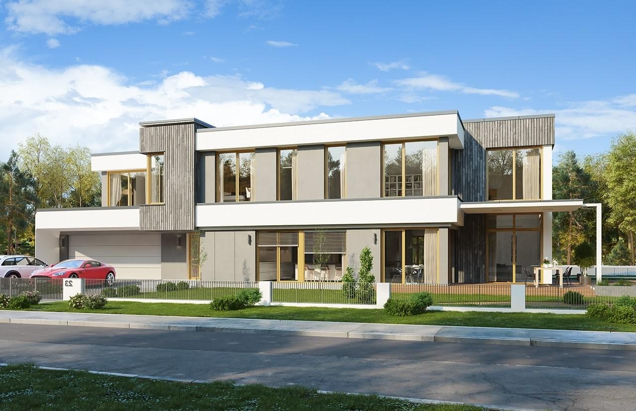 Projekt domu Willa moderna - wizualizacja frontowa odbicie lustrzane