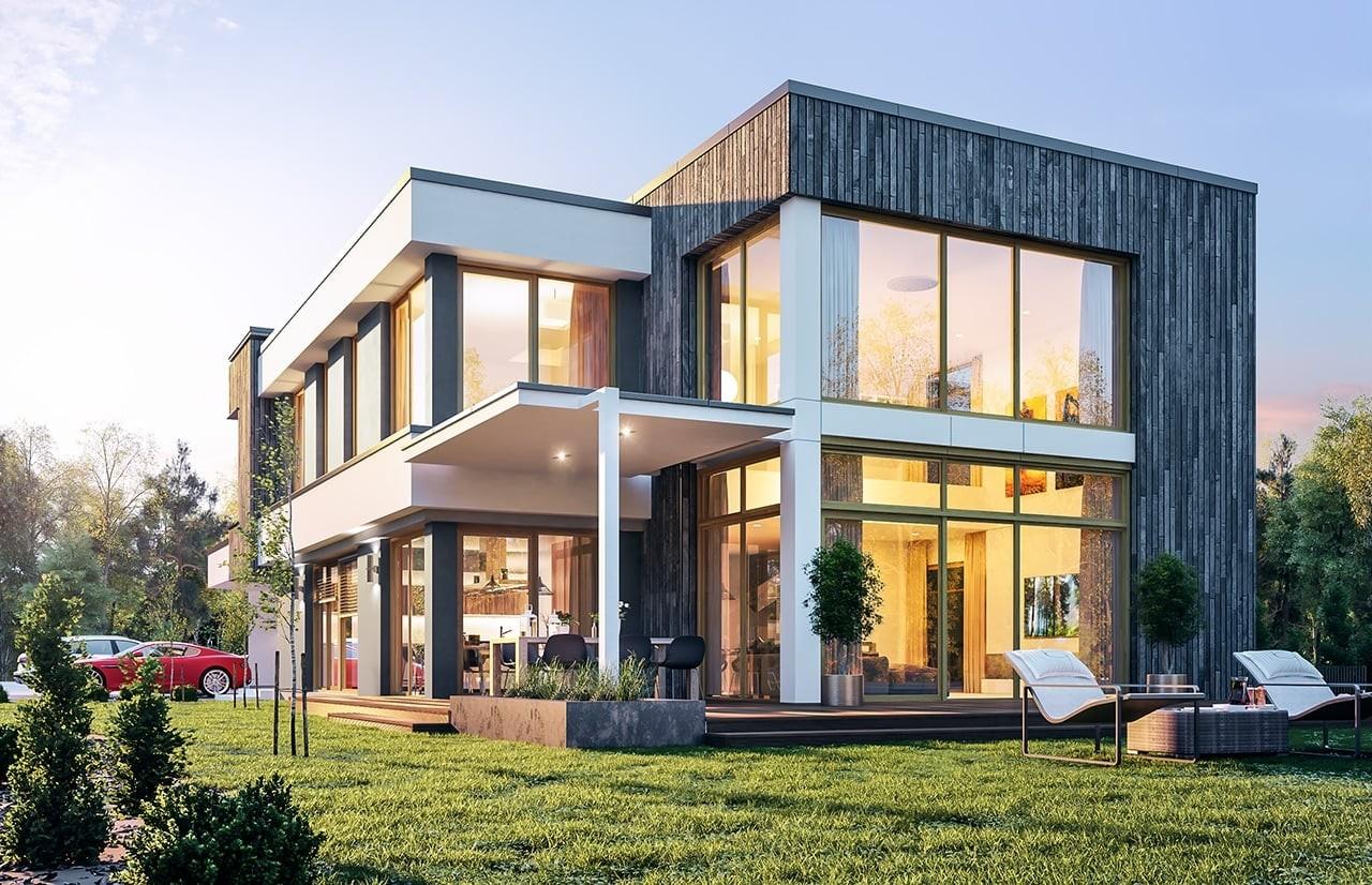 Projekt domu Willa moderna - wizualizacja boczna odbicie lustrzane