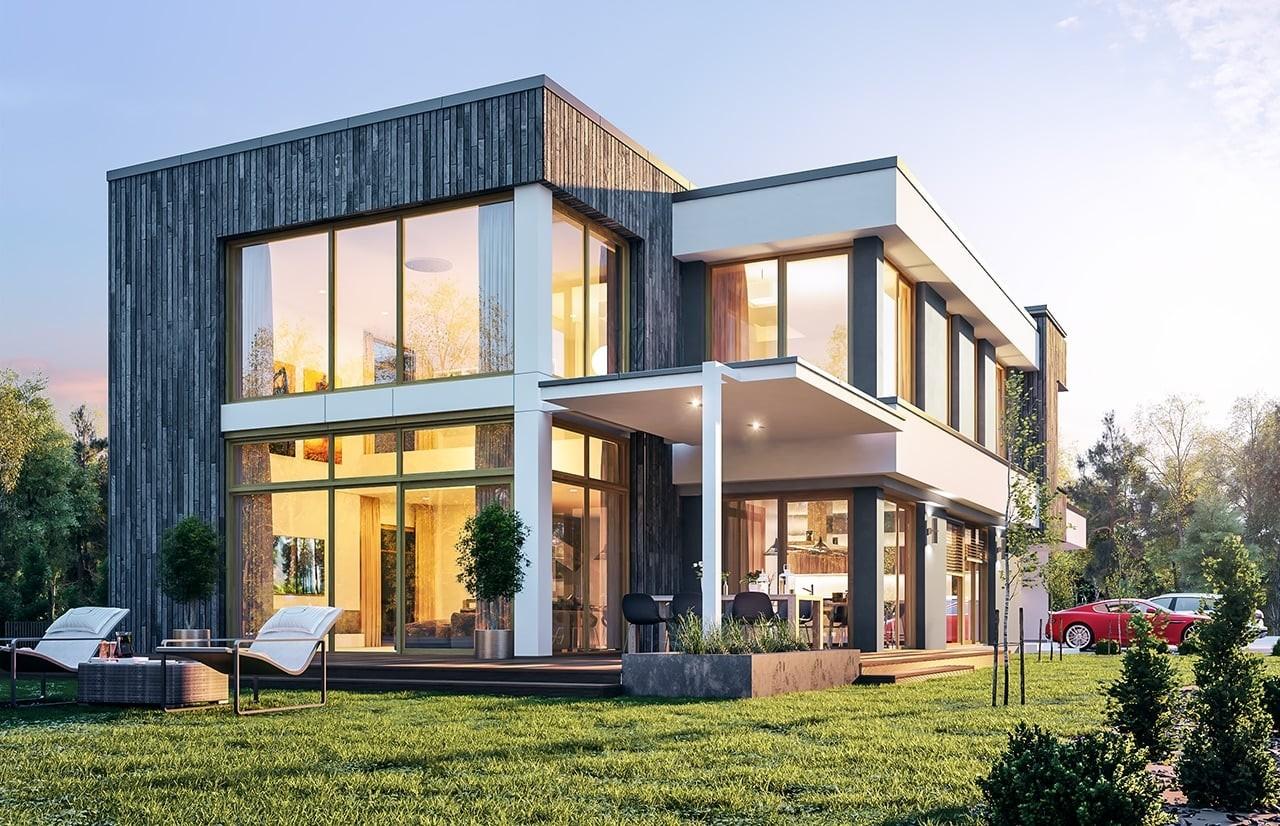 Projekt domu Willa moderna - wizualizacja boczna