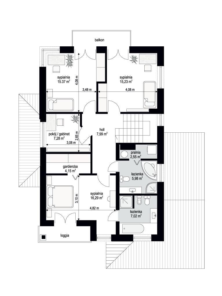 Kasjopea 2 wariant B - rzut piętra