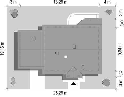 Niezapominajka z garażem 2 - sytuacja odbicie lustrzane