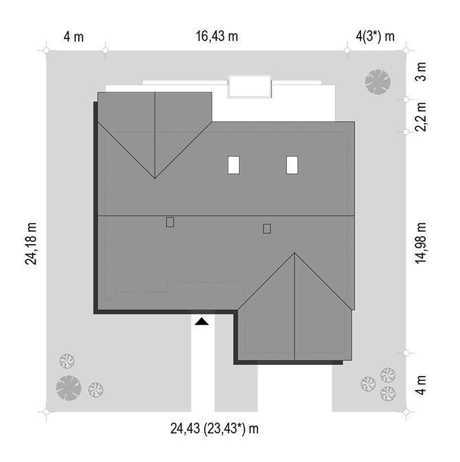 Parterowy 3 wariant B - sytuacja odbicie lustrzane