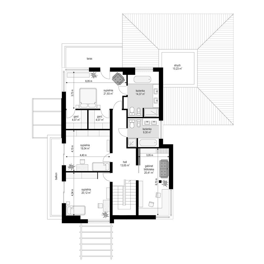 Południowy - rzut piętra