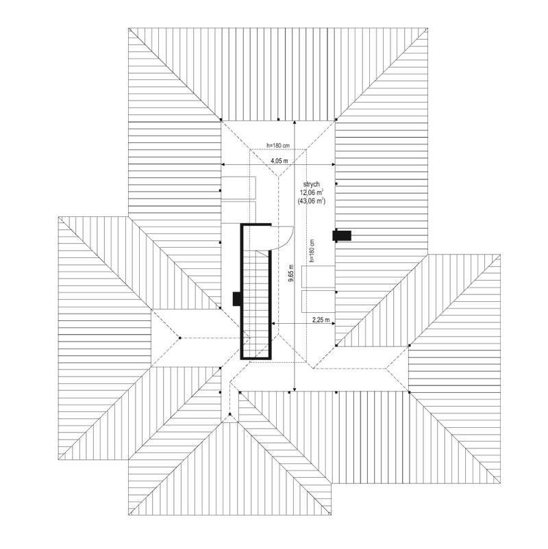 Dom na miarę 2 - rzut strychu odbicie lustrzane