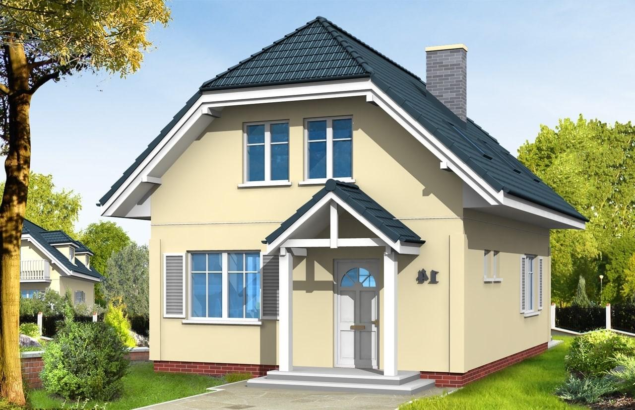 Projekt domu Adaś - wizualizacja frontowa odbicie lustrzane