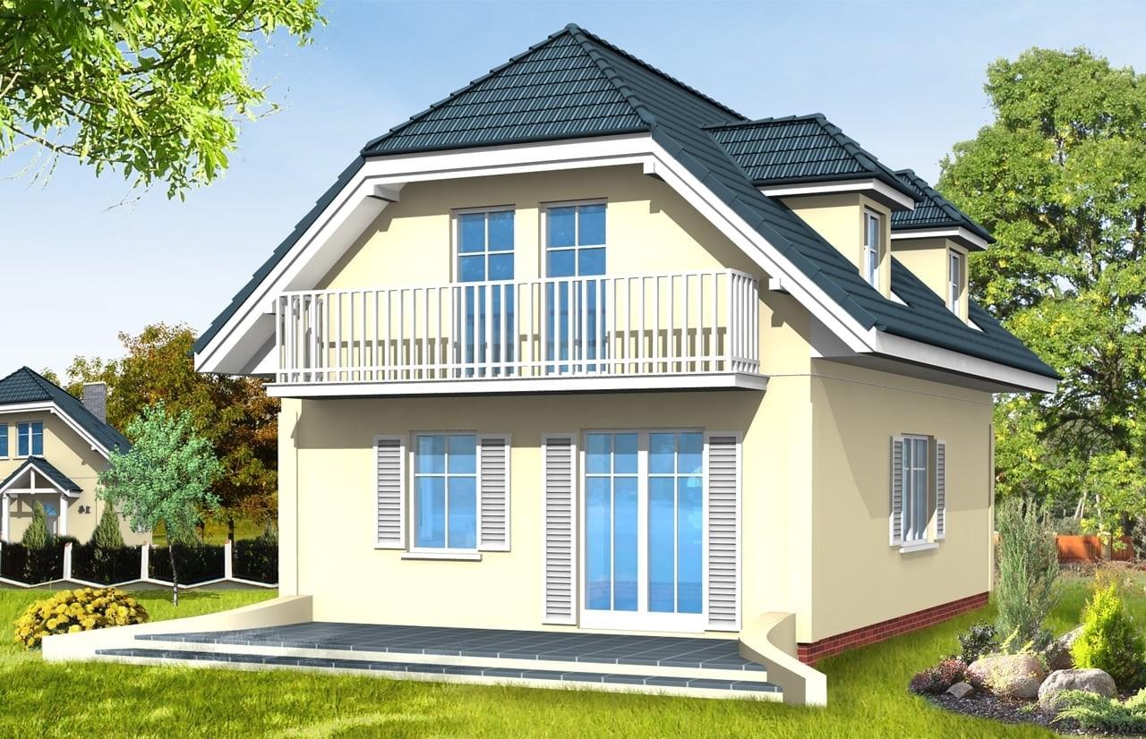 Projekt domu Adaś  - wizualizacja tylna odbicie lustrzane