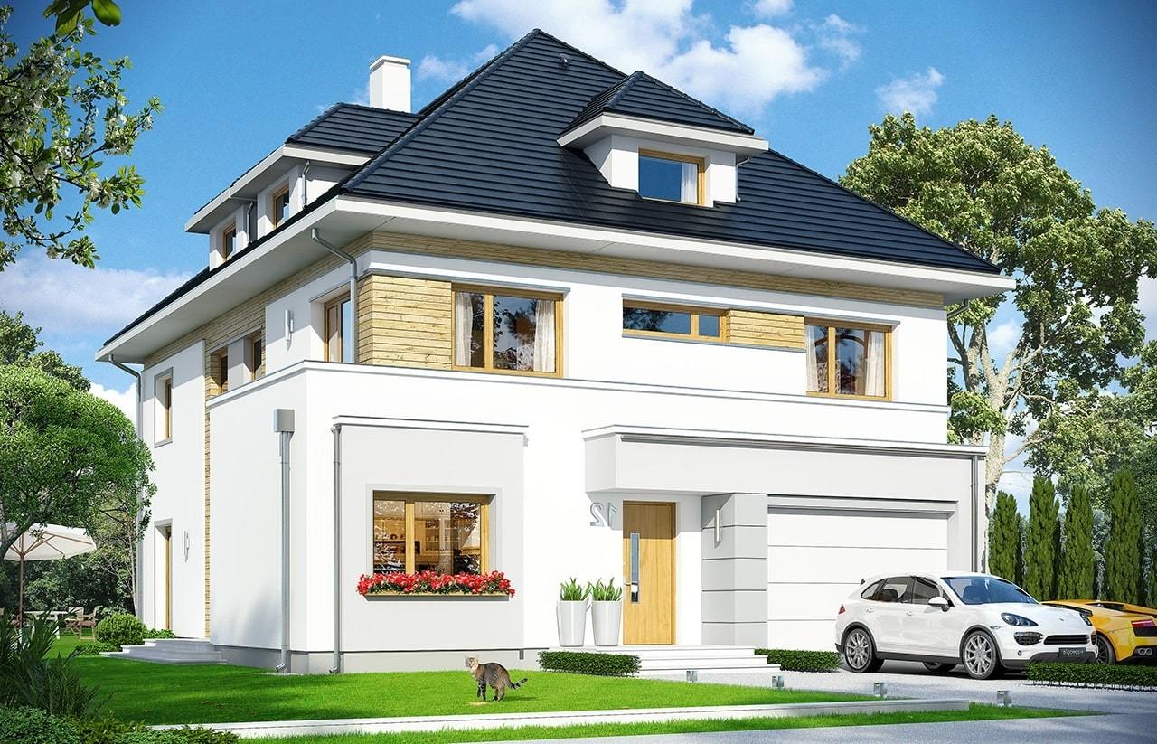 Projekt domu Agat 2 - wizualizacja frontowa odbicie lustrzane