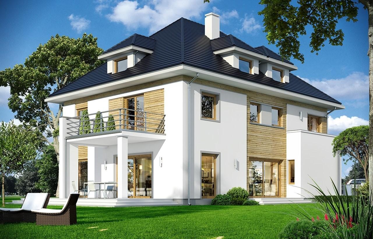 Projekt domu Agat 2 - wizualizacja tylna odbicie lustrzane