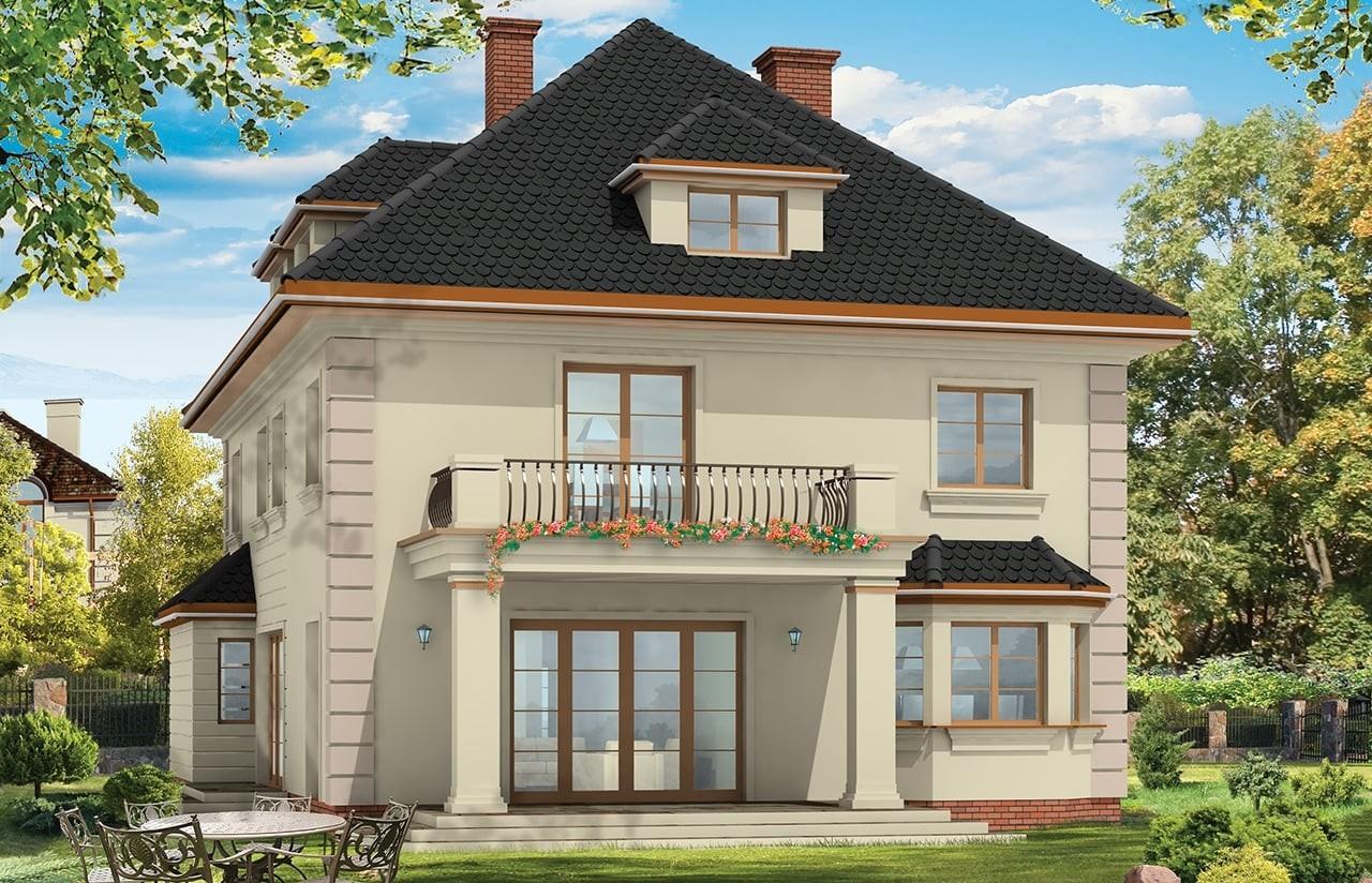 Projekt domu Agat - wizualizacja tylna odbicie lustrzane