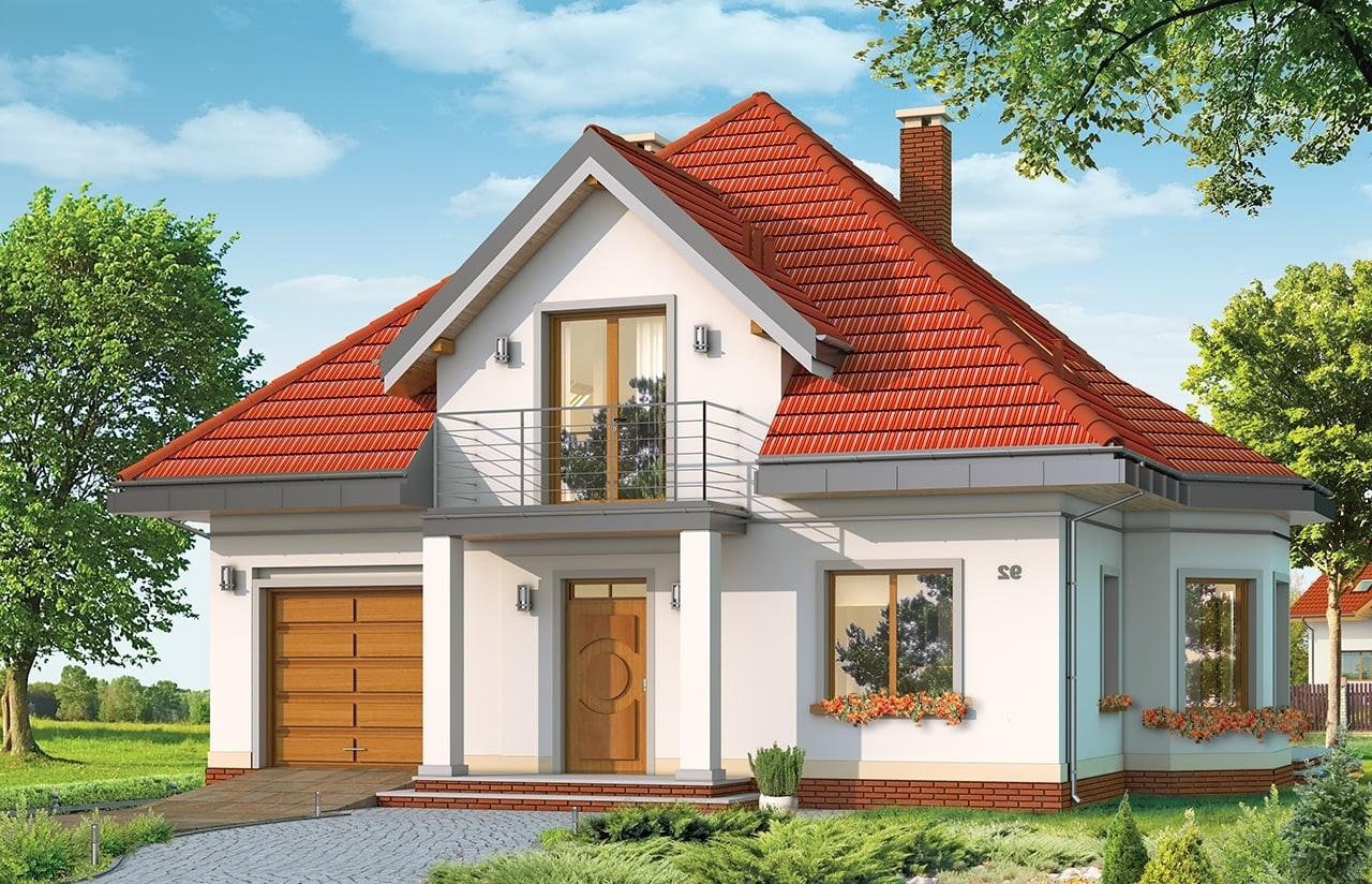 Projekt domu Agatka - wizualizacja frontowa odbicie lustrzane
