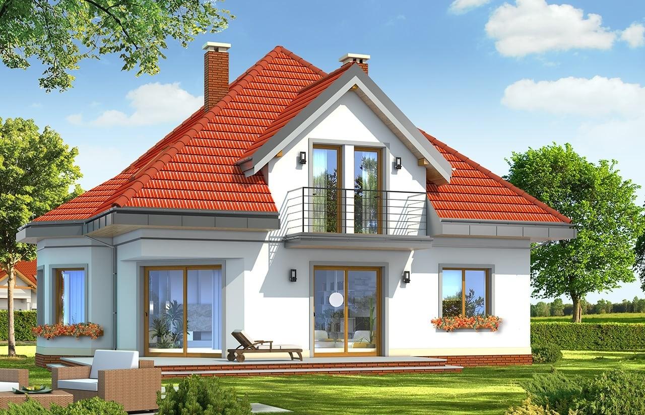 Projekt domu Agatka - wizualizacja tylna odbicie lustrzane