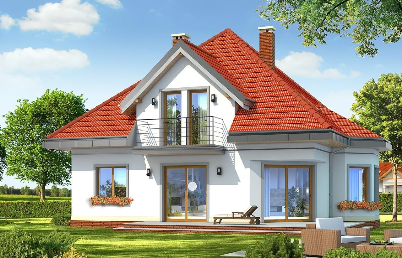 Projekt domu Agatka - wizualizacja tylna