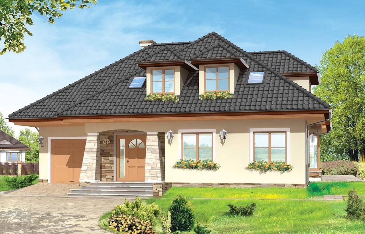Projekt domu Agnieszka 2 - wizualizacja frontowa odbicie lustrzane