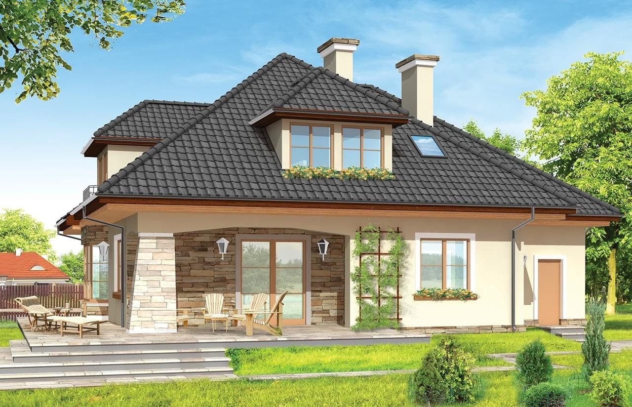 Projekt domu Agnieszka 2 - wizualizacja tylna odbicie lustrzane