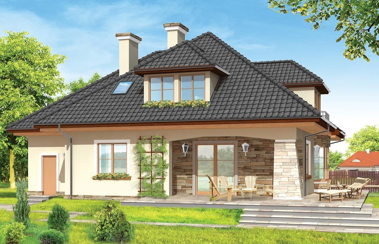 Projekt domu Agnieszka 2 - wizualizacja tylna