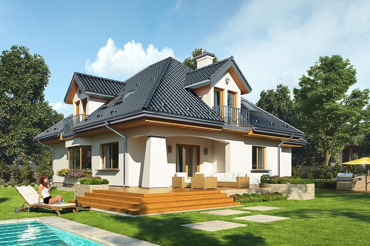 Projekt domu Agnieszka 3 B - wizualizacja tylna