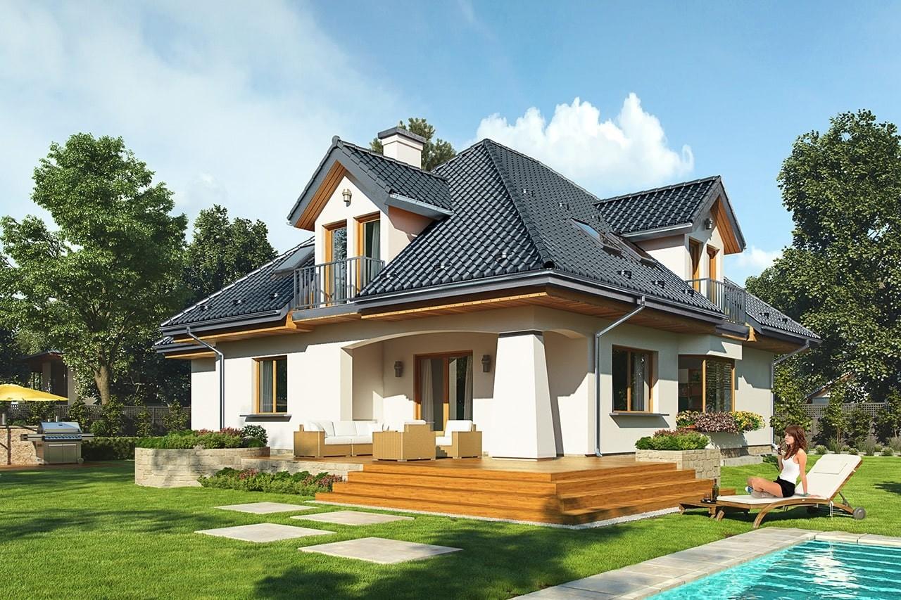 Projekt domu Agnieszka 3 B - wizualizacja tylna odbicie lustrzane