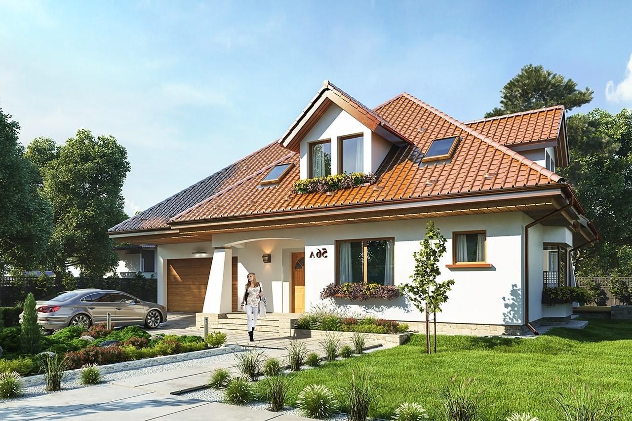 Projekt domu Agnieszka 3 - wizualizacja frontowa odbicie lustrzane