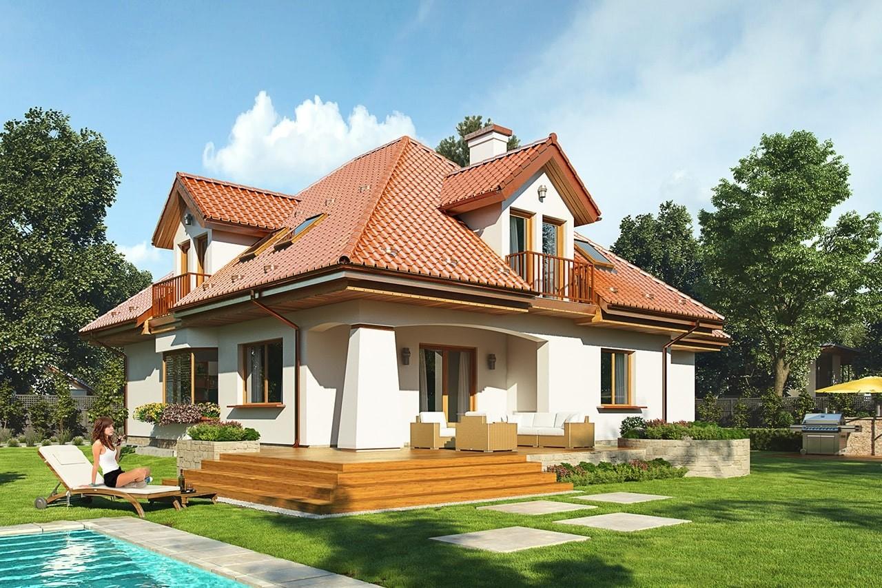 Projekt domu Agnieszka 3 - wizualizacja tylna odbicie lustrzane