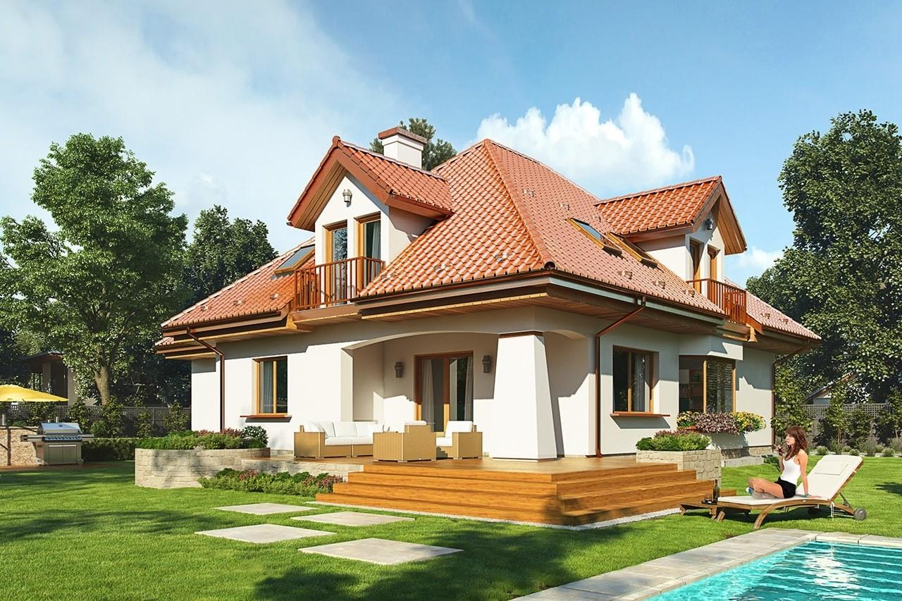 Projekt domu Agnieszka 3 - wizualizacja tylna