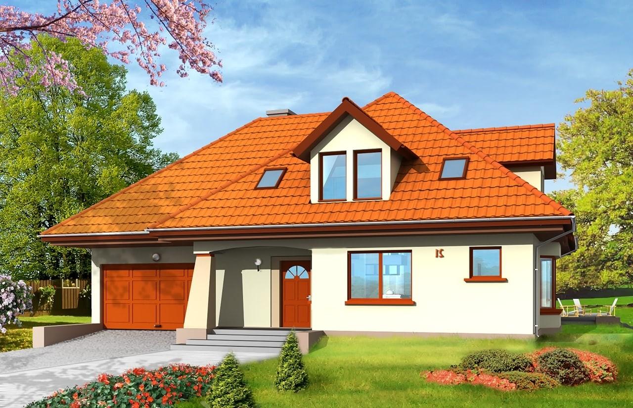 Projekt domu Agnieszka - wizualizacja frontowa odbicie lustrzane