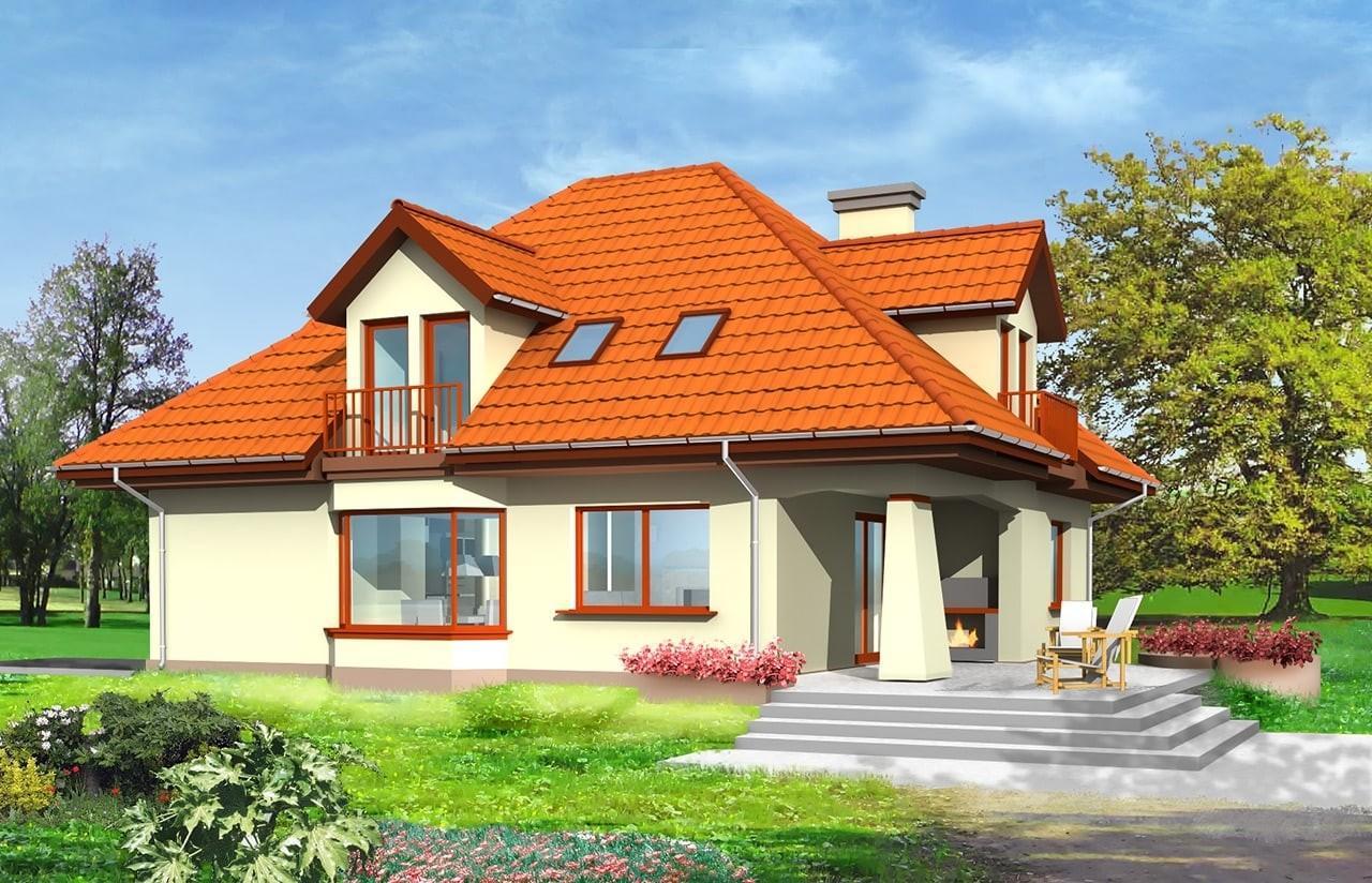 Projekt domu Agnieszka - wizualizacja tylna odbicie lustrzane