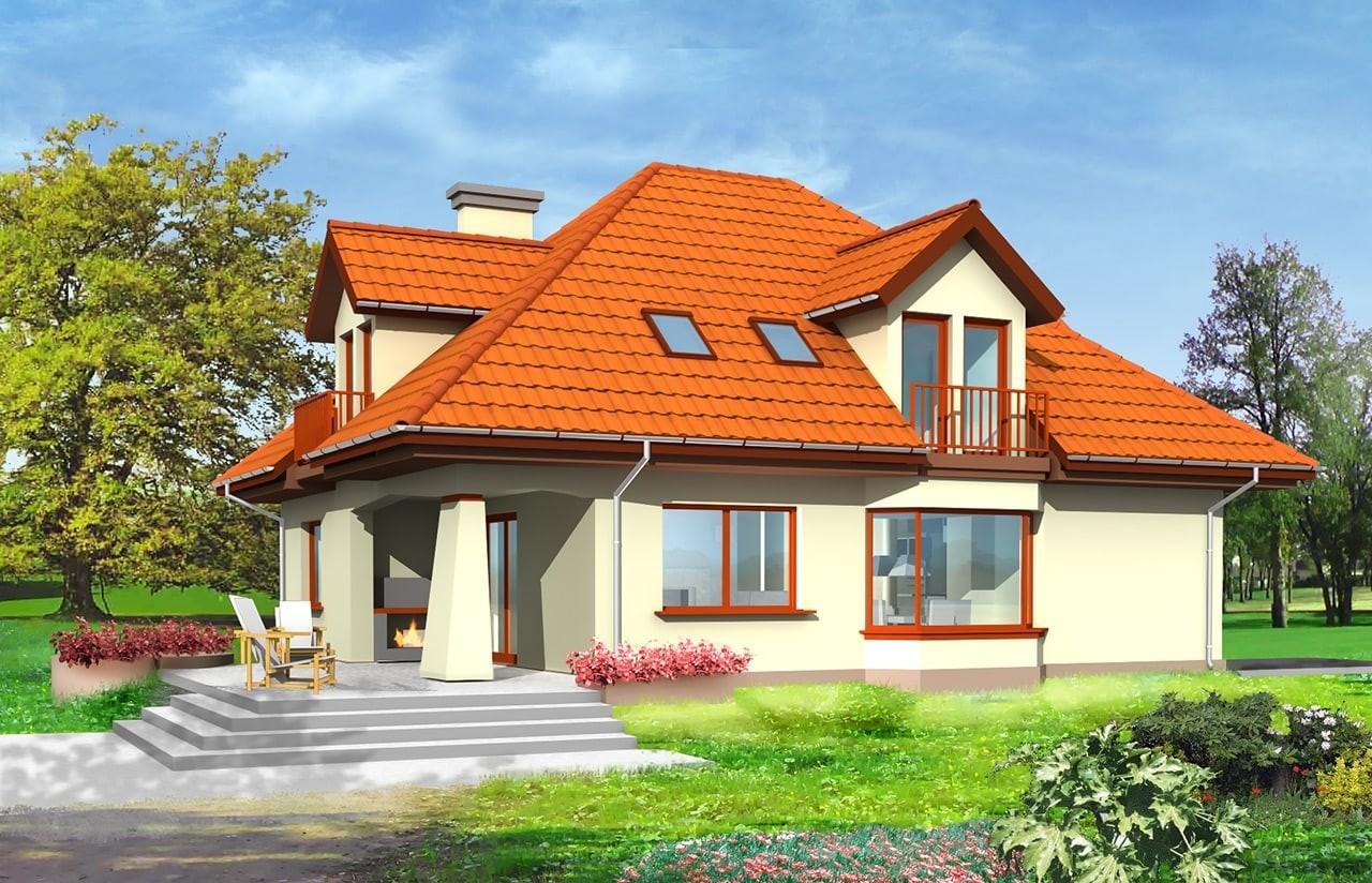 Projekt domu Agnieszka - wizualizacja tylna