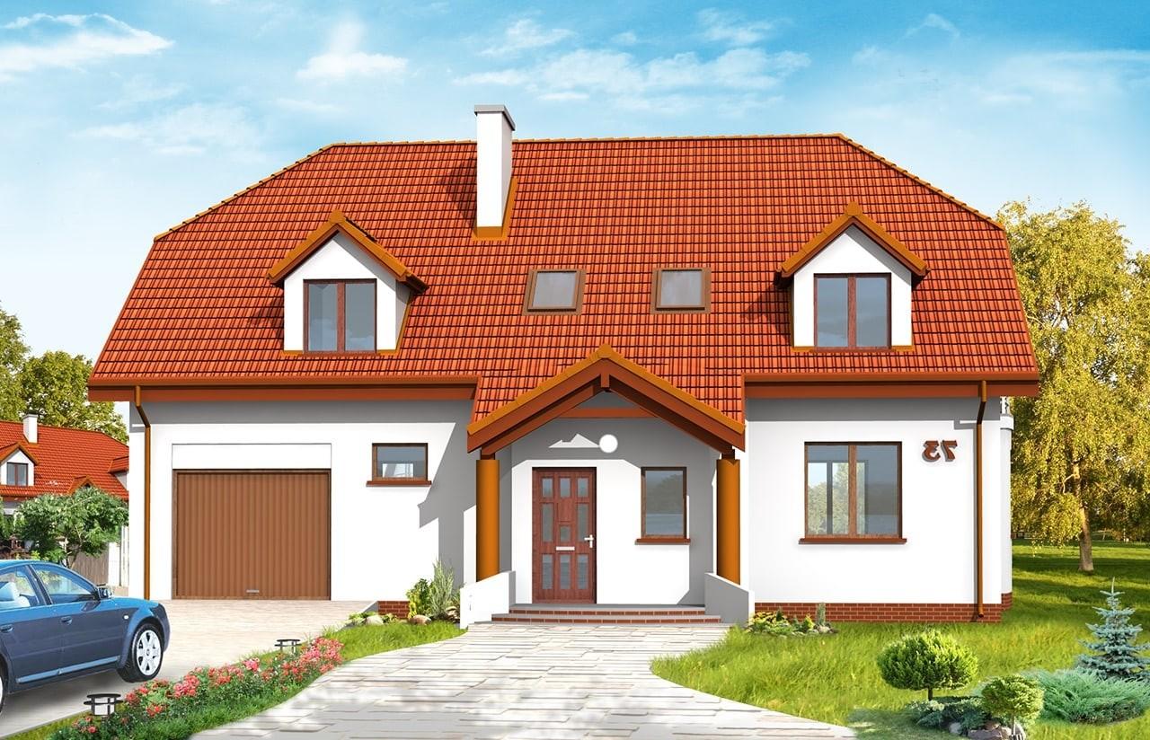 Projekt domu Akacjowy - wizualizacja frontowa odbicie lustrzane