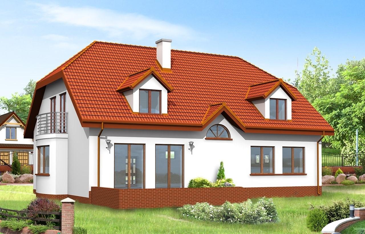 Projekt domu Akacjowy - wizualizacja tylna odbicie lustrzane