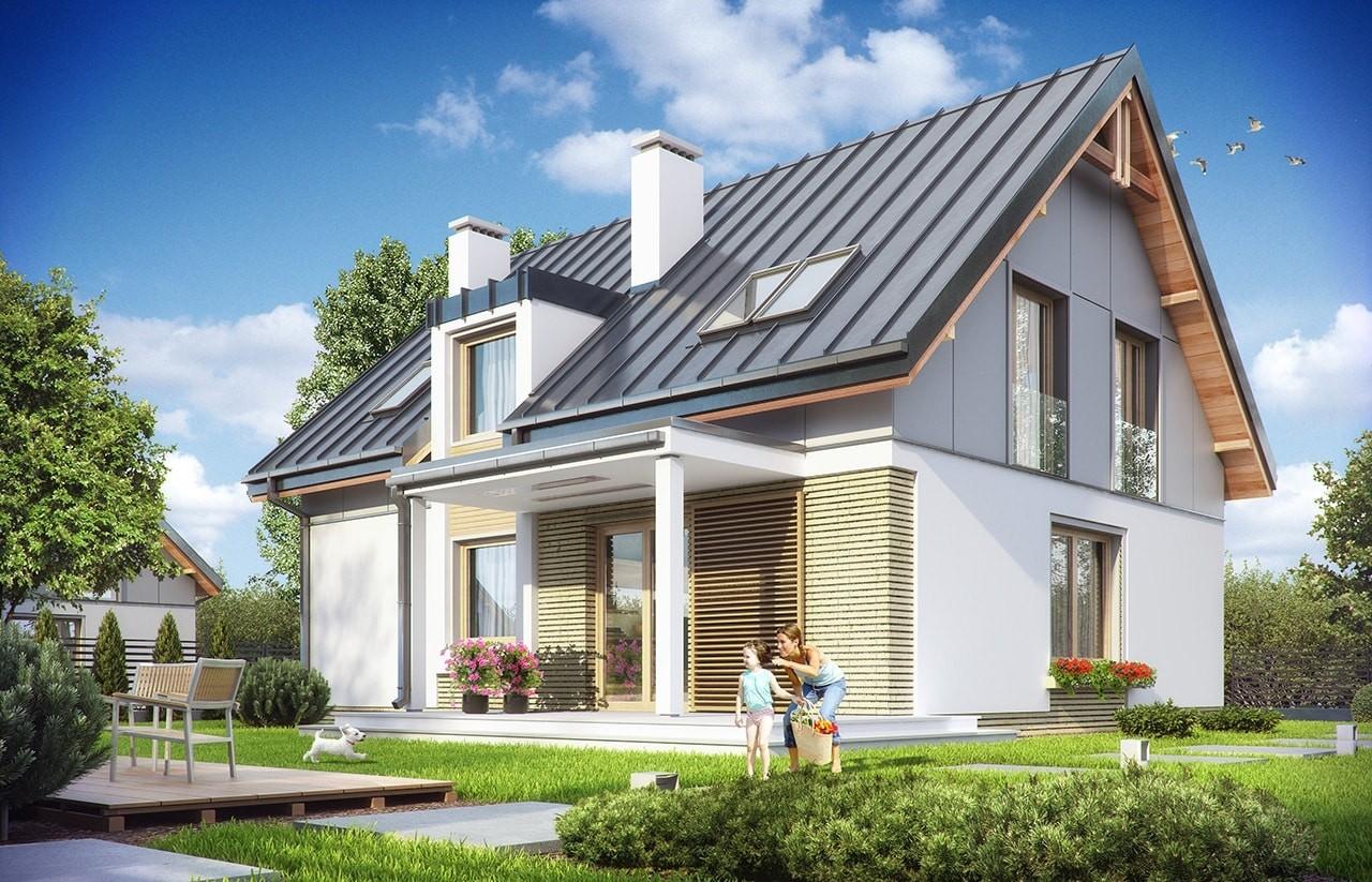 Projekt domu Albatros - wizualizacja tylna