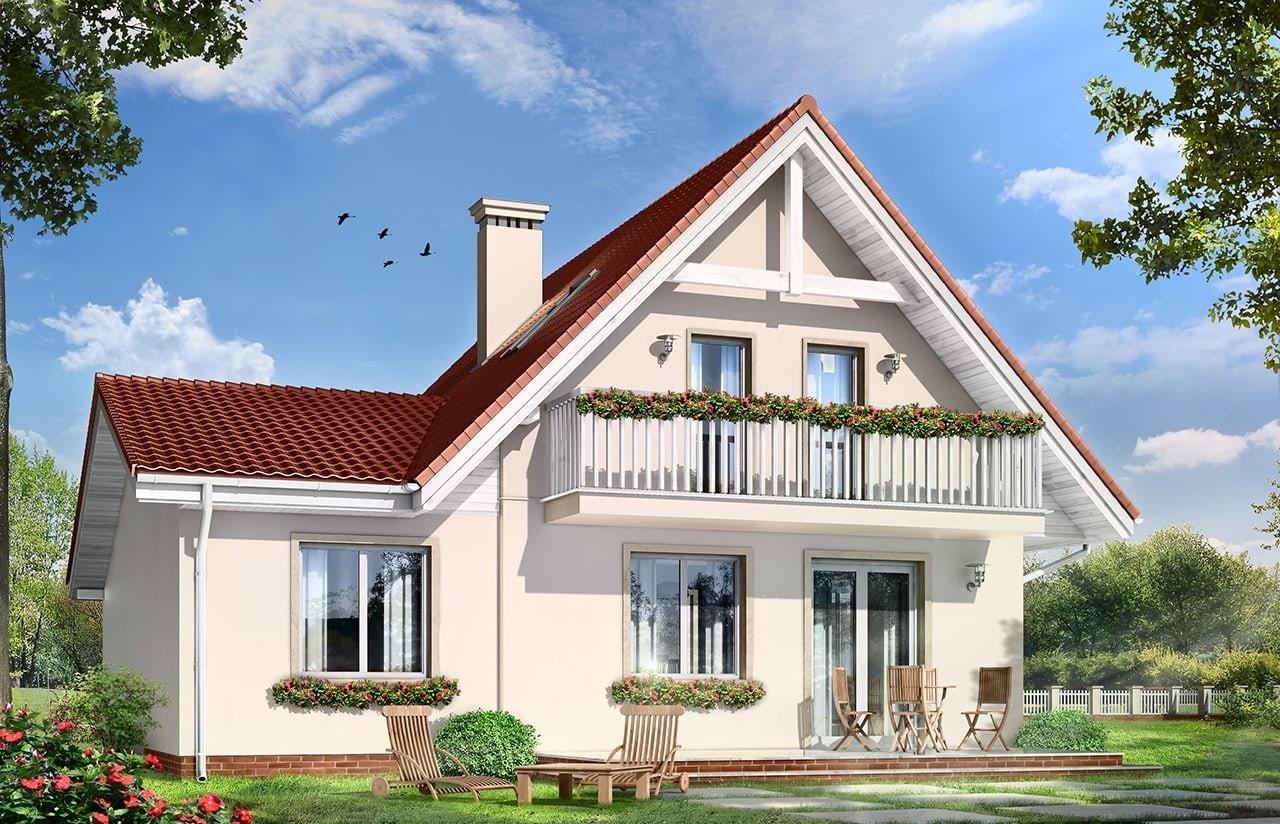 Projekt domu Alicja - wizualizacja tylna