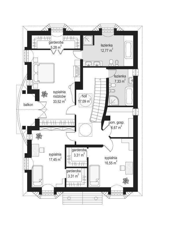 Ambasador 3 - rzut piętra odbicie lustrzane