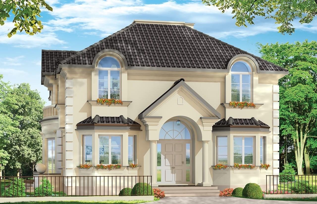 Projekt domu Ambasador 3- wizualizacja frontowa odbicie lustrzane