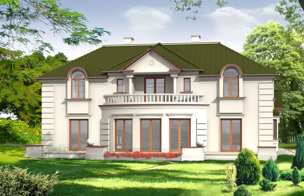 Projekt domu Ambasador - wizualizacja tylna  odbicie lustrzane
