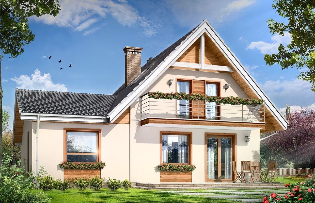 Projekt domu Amelia - wizualizacja tylna