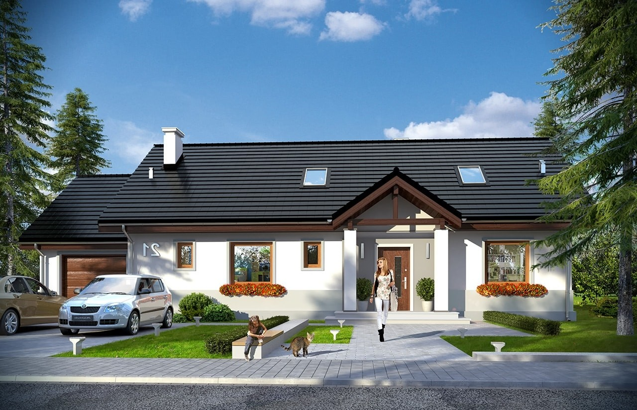 Projekt domu Anatol 2 Projekt domu Anatol 2 - wizualizacja frontu odbicie lustrzane