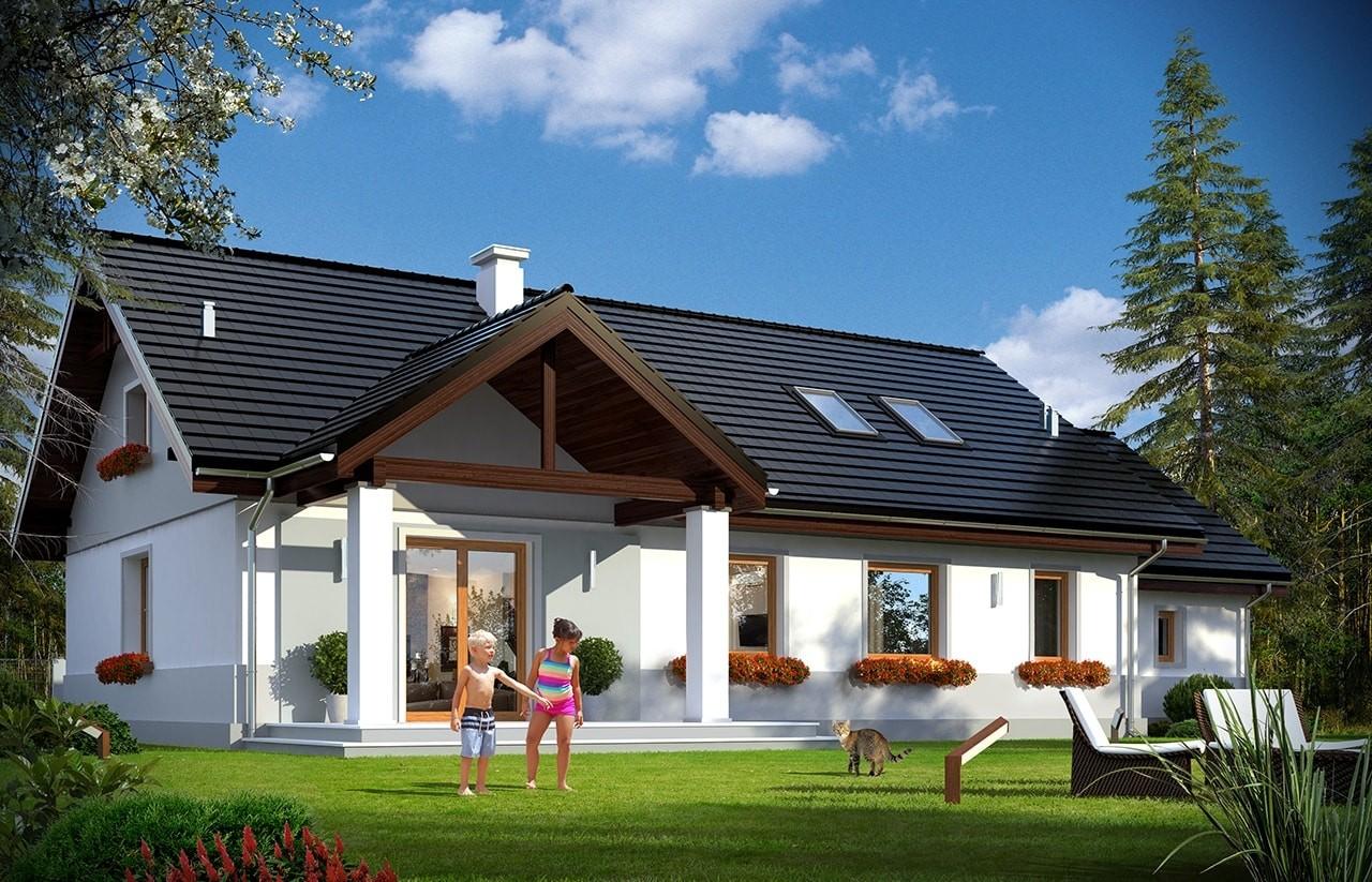 Projekt domu Anatol 2 - wizualizacja tylna odbicie lustrzane