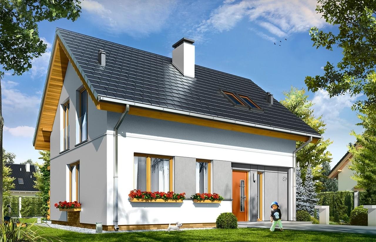 Projekt domu Ania - wizualizacja frontu odbicie lustrzane