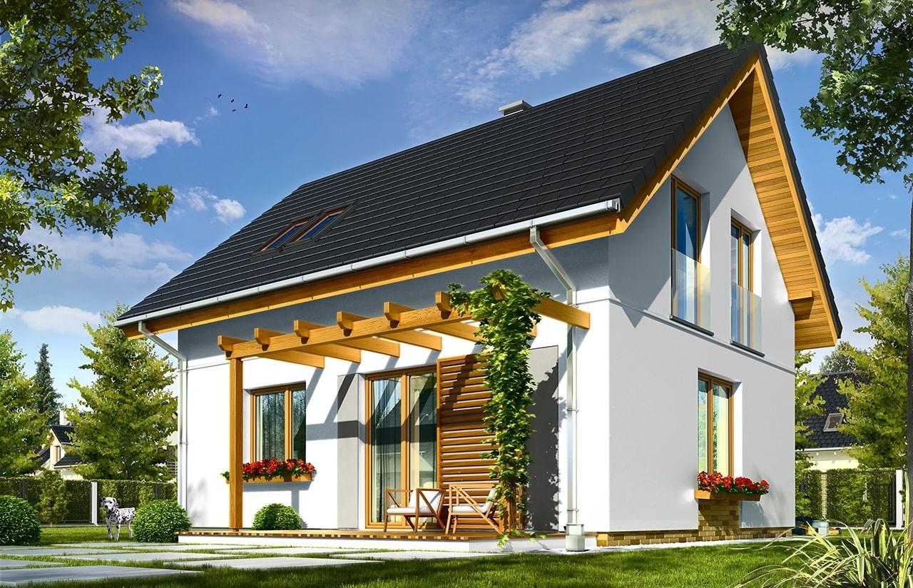 Projekt domu Ania - wizualizacja tylna odbicie lustrzane