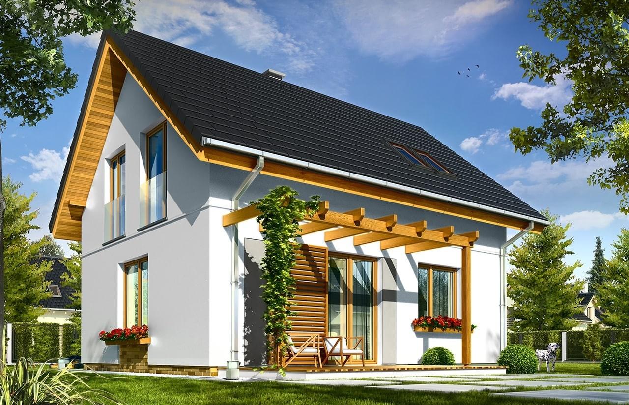 Projekt domu Ania - wizualizacja tylna