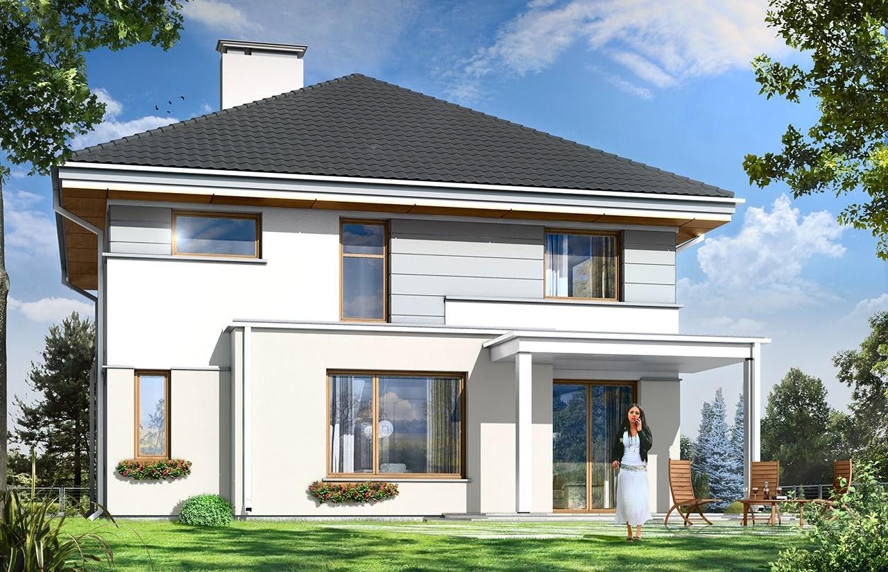 Projekt domu Artemida - wizualizacja tylna odbicie lustrzane