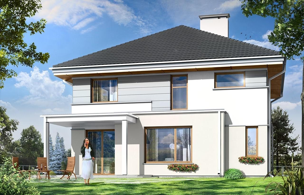 Projekt domu Artemida - wizualizacja tylna