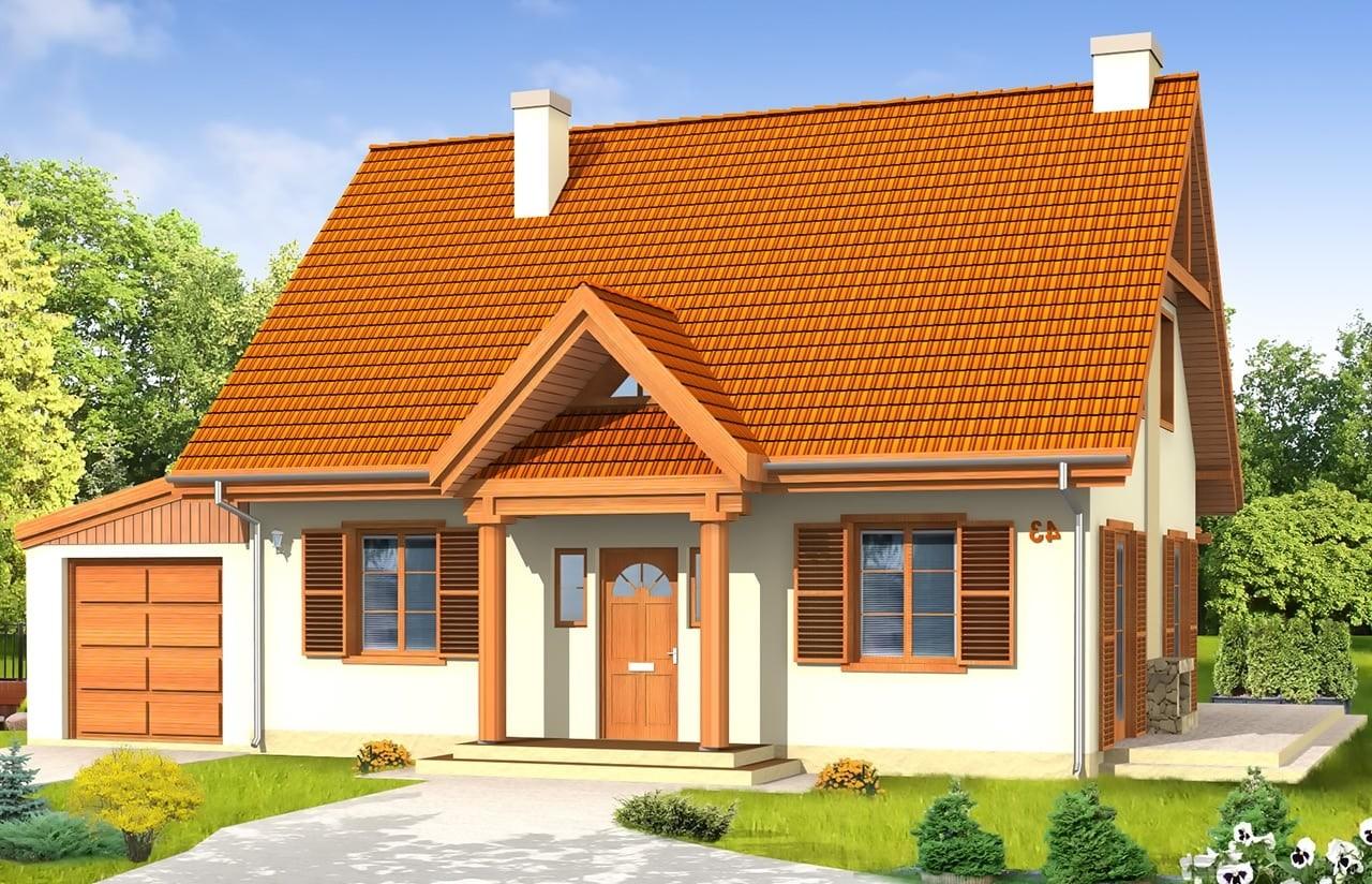 Projekt domu Bajkowy 2 - wizualizacja frontowa odbicie lustrzane