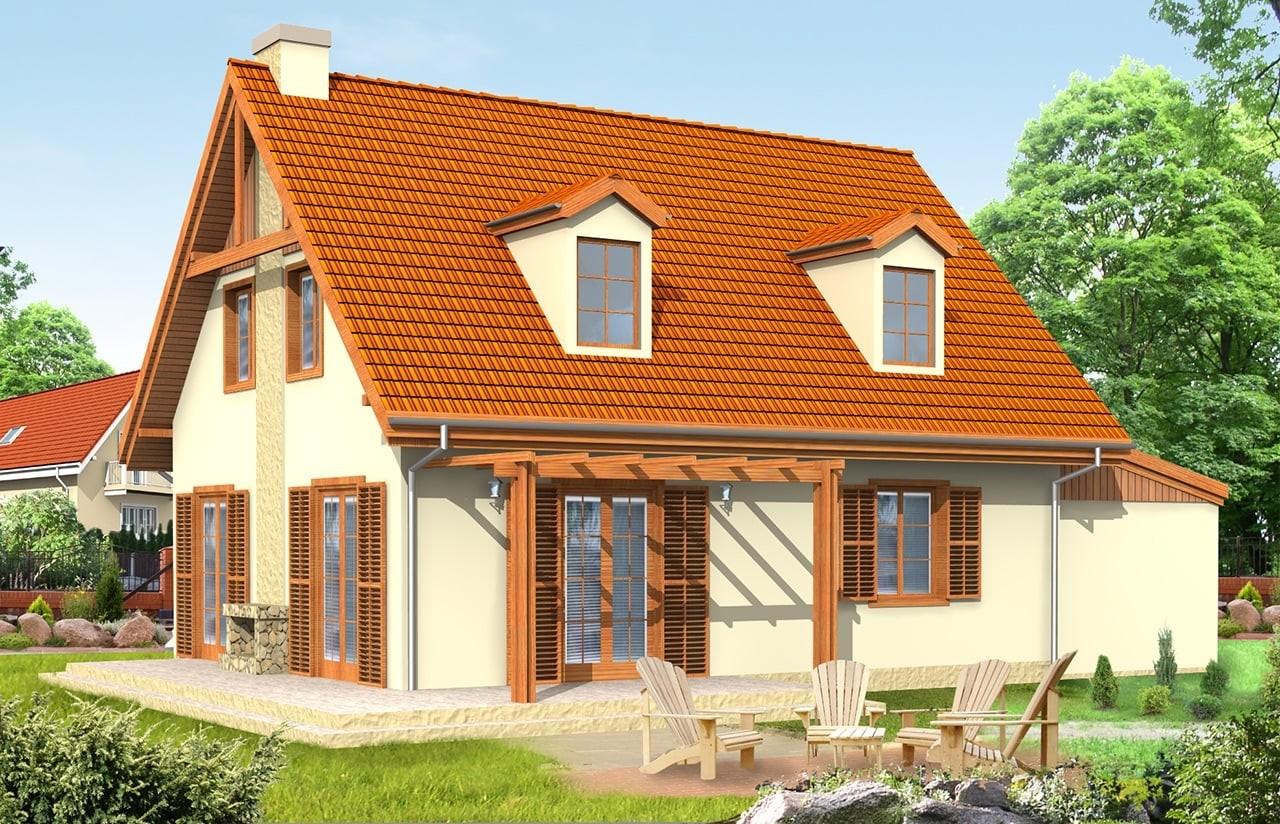 Projekt domu Bajkowy 2 - wizualizacja tylna odbicie lustrzane