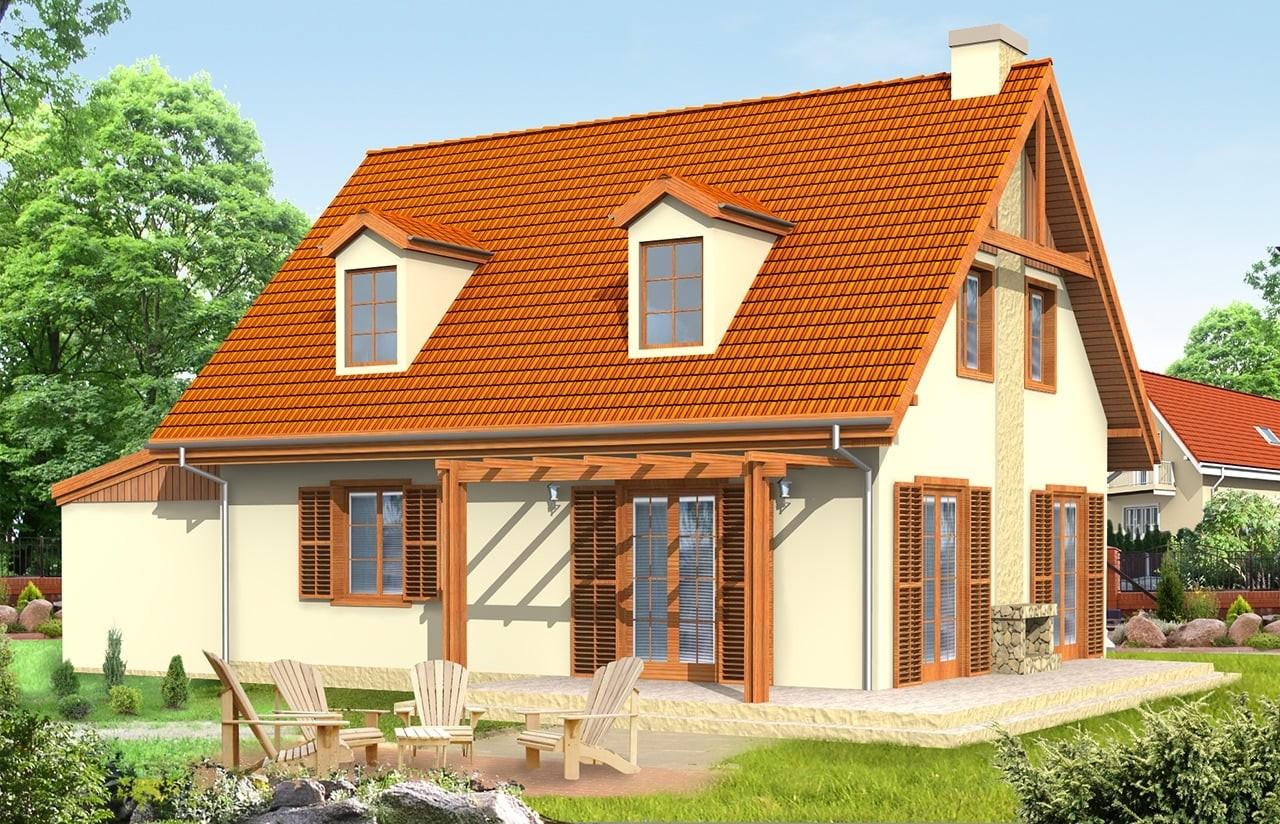Projekt domu Bajkowy 2 - wizualizacja tylna