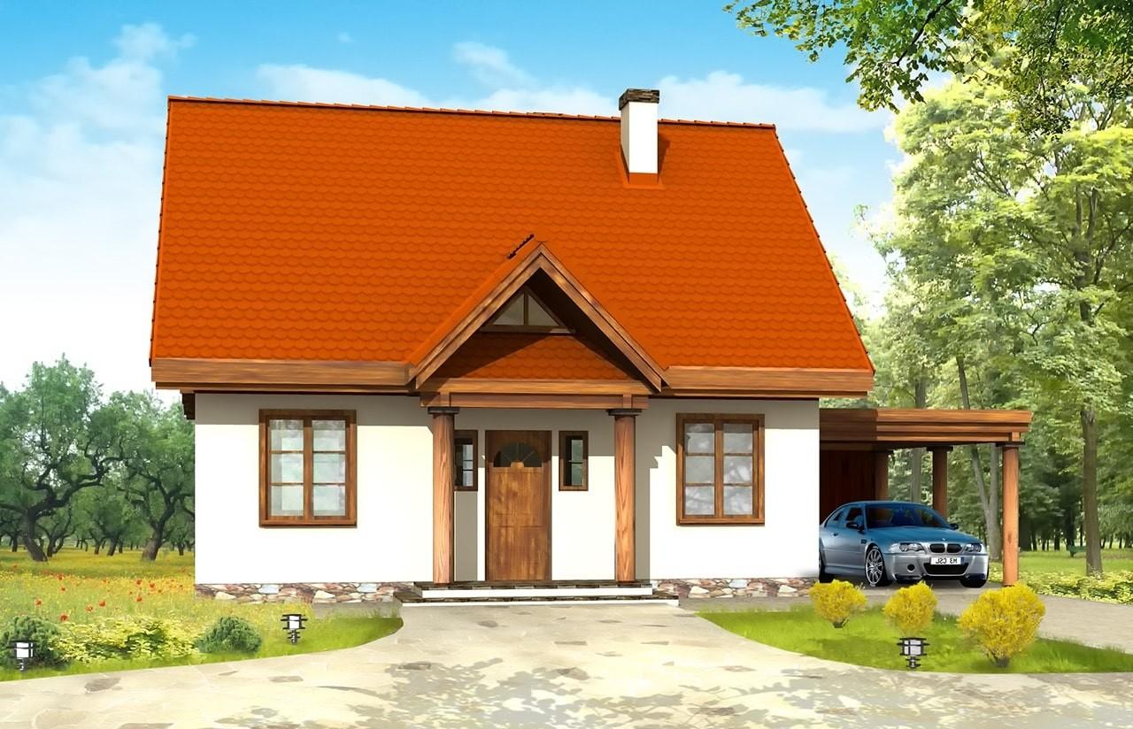 Projekt domu Bajkowy - wizualizacja frontowa odbicie lustrzane